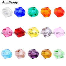 AnnBeady 100pcs 4MM Bicone Faceted Austrian crystal beads High quality Loose beads handmade Jewelry bracelet making DIY