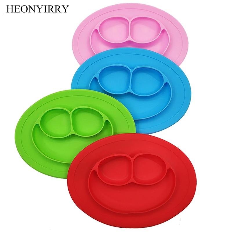 Детские Силиконовые обеденные тарелки BPA бесплатно Toddle Training тарелку улыбкой лицо посуда фрукты лоток дети еда чаша для кормления блюд