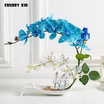 High simulation bonsai Real touch artificial Phalaenopsis rose arrangements fake flower in ceramic pot Orchid flower suit