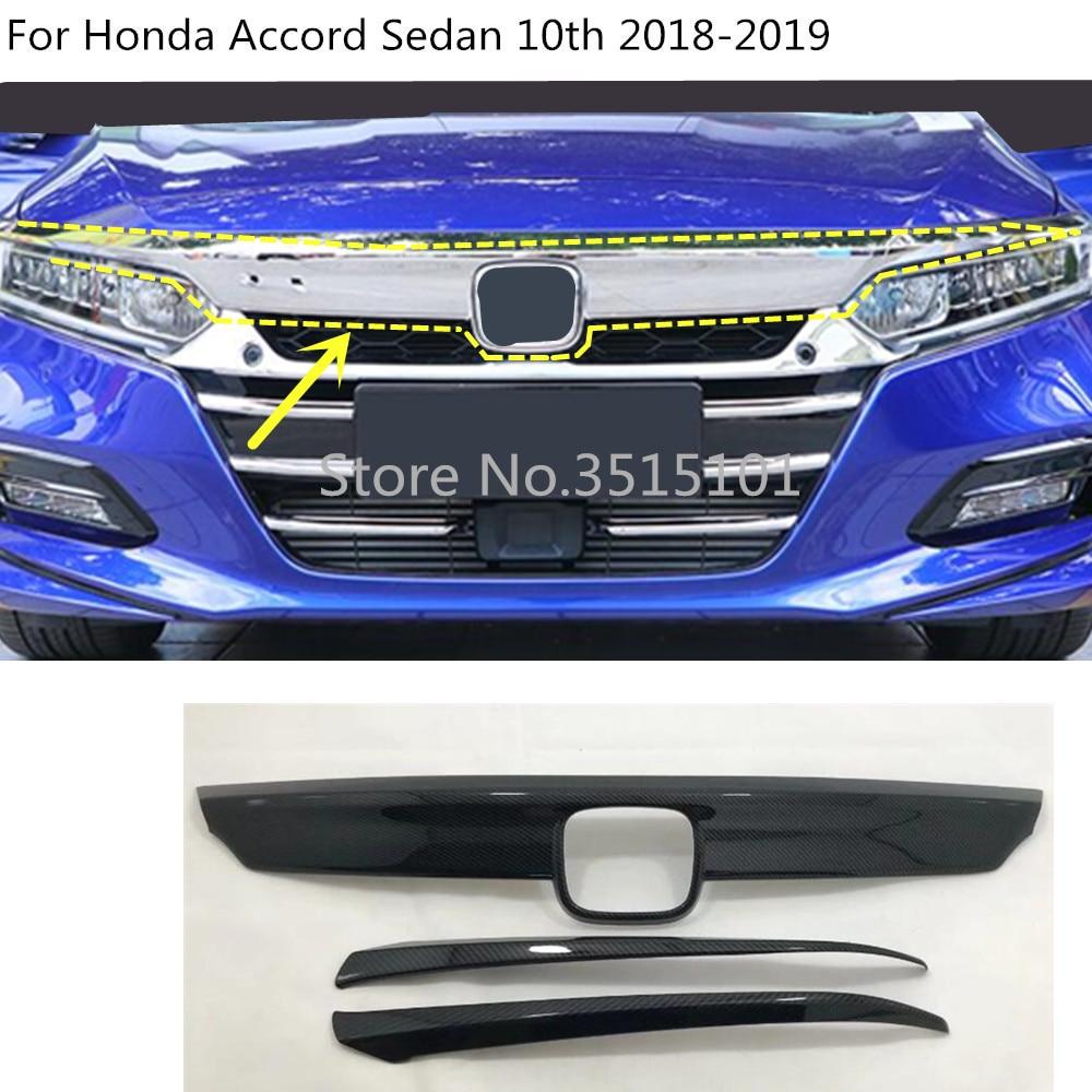 車保護検出器カーボンファイバートリムフロントアップヘッドグリッドグリルグリルパネル2ピースホンダアコードセダン10日2018 2019グリル