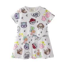 купить Children Girls Dress Summer New Cotton Short Sleeve Dresses for baby Girl Kids Cartoon Dinosaur Unicorn Printed Princess Dress по цене 455.27 рублей