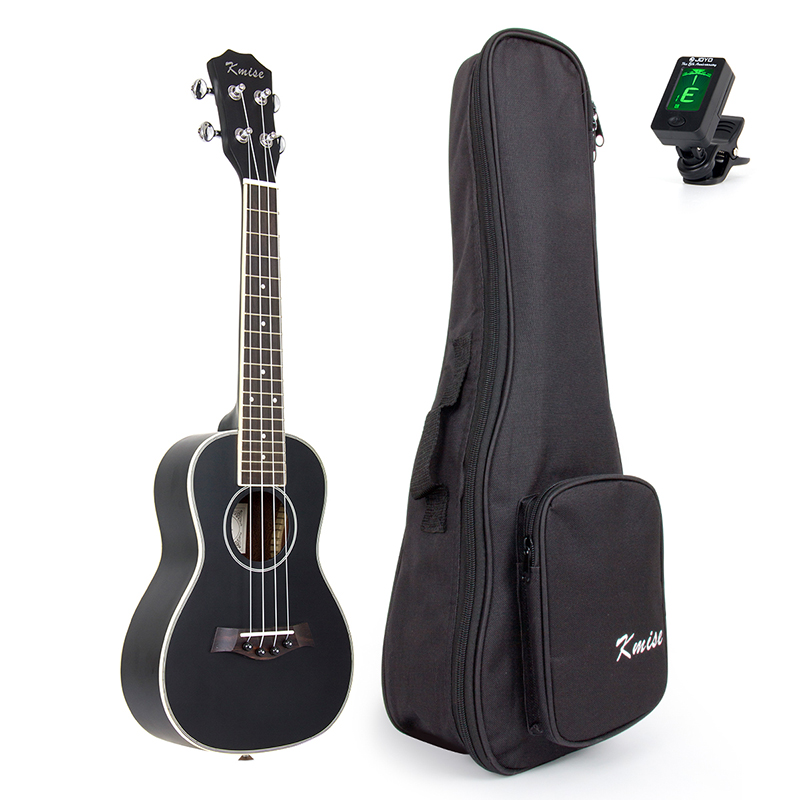 Concert Ukulele Kmise Uke 23 inch Basswood Black Tint Satin 4 String Hawaii Guitar with Gig Bag Tuner portable hawaii guitar gig bag ukulele case cover for 21inch 23inch 26inch waterproof