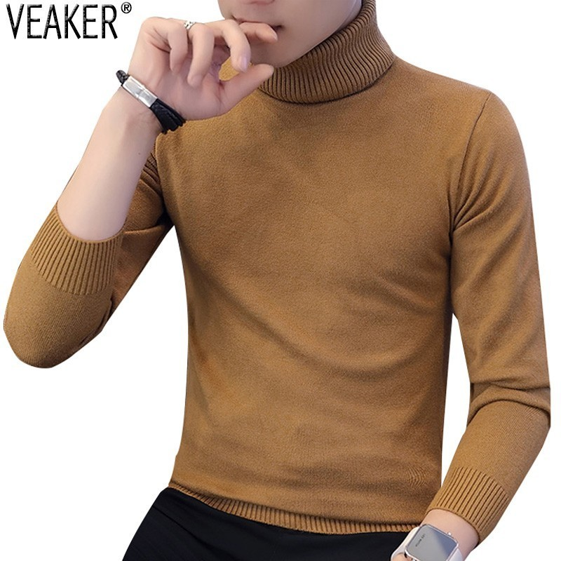 2019 Autumn Winter New Men's Turtleneck Sweater Solid Color Knitted Pullover Sweaters Male Casual High Neck Knitwear M-3XL
