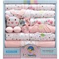 18 unid/set 100% algodón recién nacido bebé infantil del juego del bebé ropa de la muchacha trajes pantalones ropa de bebé babero sombrero ropa de bebe