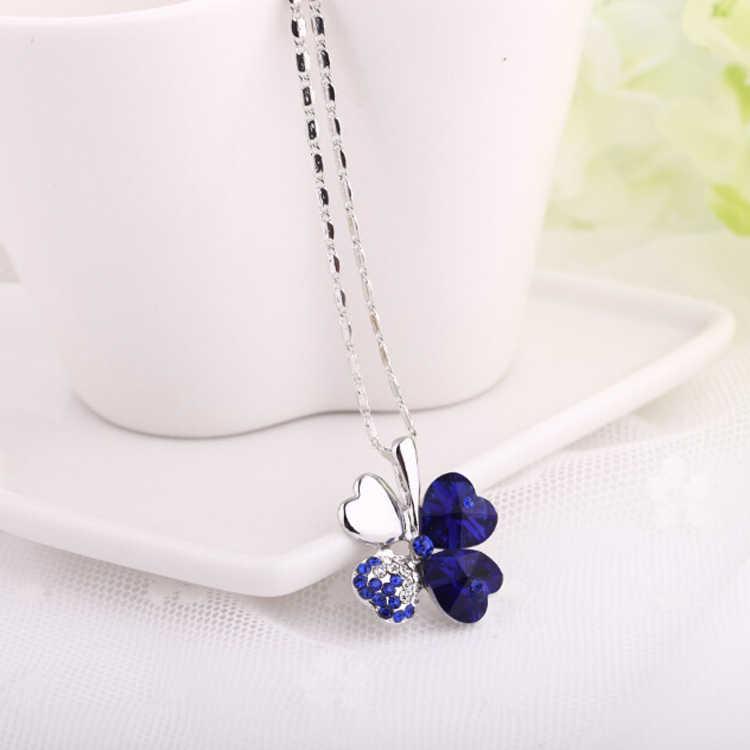 Akcesoria imitacja kryształu Lucky HEART czterolistny naszyjnik z wisiorem w kształcie koniczyny urocza biżuteria