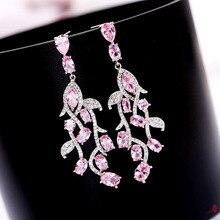 Ruifan High Quality Korean Luxury Leaf Shape Pink Cubic Zircon Rhinestone Long Drop Earring Womens Statement Earrings YEA347