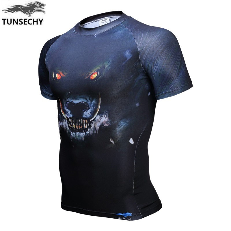 Free shipping TUNSECHY Brand men's crime compressed digital printing round collar with short sleeves tight T-shirts XS-4XL