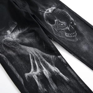 Image 4 - Sokotoo גברים של גולגולת שטן טפרים של 3D מודפס ג ינס Slim ישר למתוח ג ינס מכנסיים כחול שחור