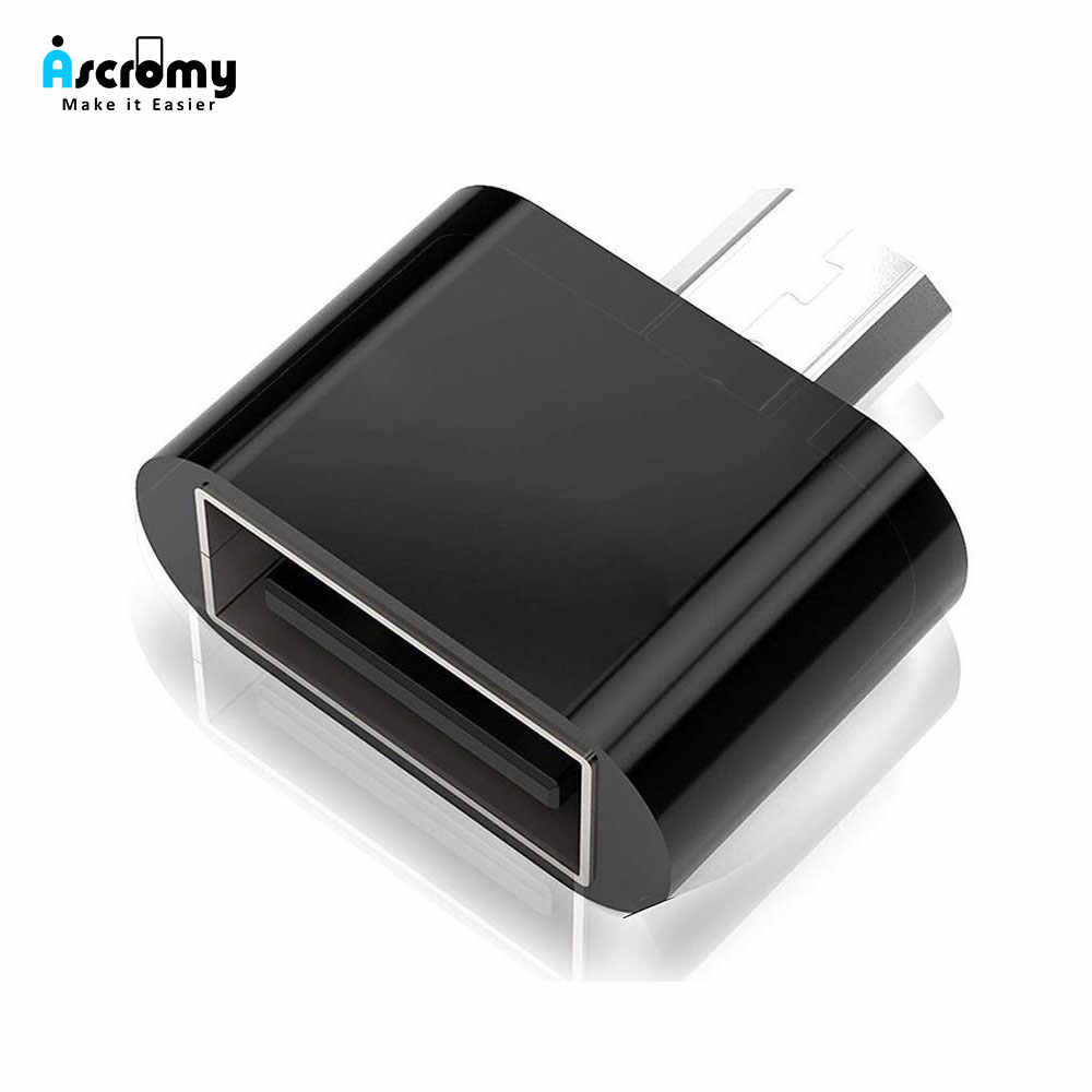 Ascromy Micro USB OTG Adaptor untuk Xiaomi Redmi Note 5 6 Pro 6A 4X Samsung Galaxy S7 Edge S6 MicroUSB ponsel Android OTG Adaptor