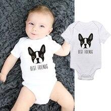 Dermspe macacão infantil, roupa de bebê recém-nascido, menino e menina, manga curta, estampa de cachorro, roupas de verão
