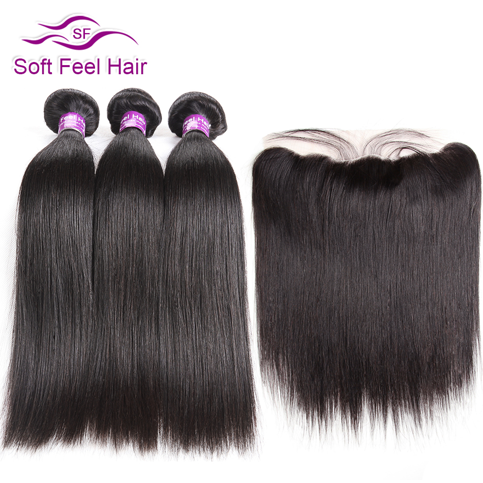 Soft Feel Hair Brazilian Straight Hair Bundles With Frontal Remy Human Hair 3 Bundles Lace Frontal