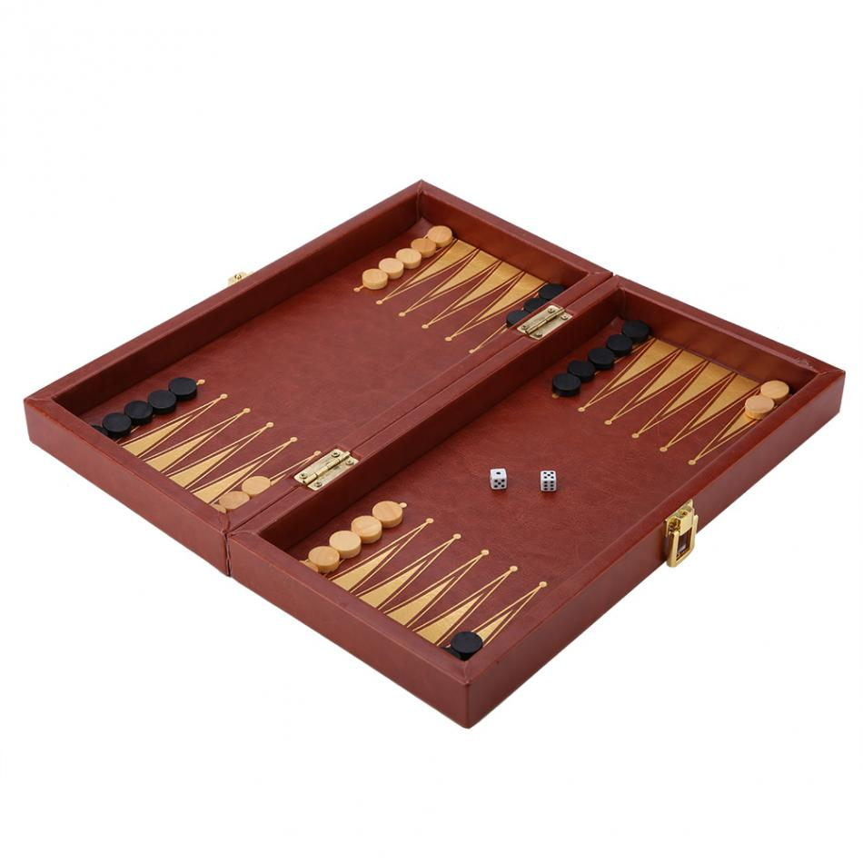 3 in 1 Portable Wooden Chess Checkers and Backgammon Board Game 14
