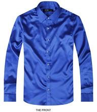 2017 Blue Luxury the groom shirt male long sleeve wedding shirt men's party Artificial silk dress shirt M-3XL 21 colors FZS16