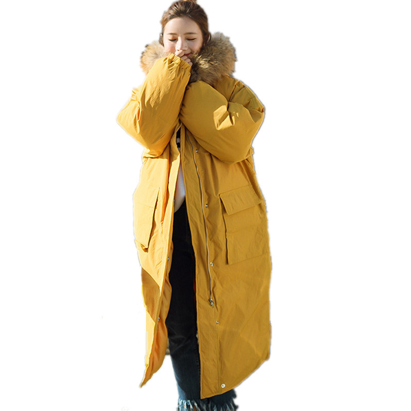 Thick Real Fur Cotton Padded Long Warm Parka Oversized Loose Jacket Women Casual Winter Yellow Coat Jaqueta Feminina TT3437 hooded winter jacket women thick cotton padded parka down warm casaco feminino jaqueta feminina abrigos mujer invierno sy235