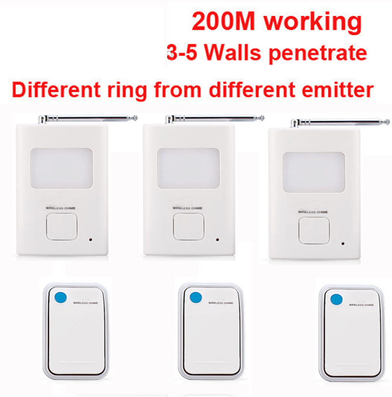 200m work ring bell 3 emitters+3 receivers music doorbell wireless doorbell,wireless door chime bell 36 music door bell ks v2 welcom chime bell sensor