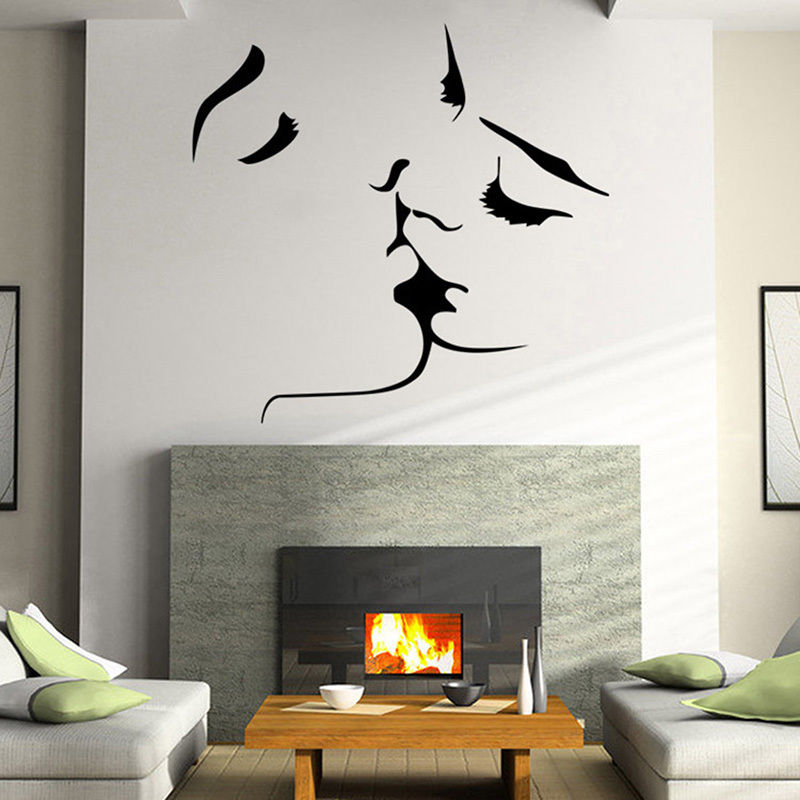 Romantic Lover Kiss Large Wall Stickers Home Decor Living Room Bedroom Huge  Size Vinyl Stickers Wall Art Decal Mural D208 In Wall Stickers From Home ... Part 62