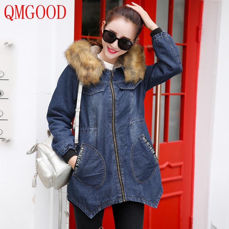 QMGOOD 2017 Winter Parka with Fur Hood Women's Denim Jacket Thicker Plus Cashmere Warm Female Plus Size Winter Coat and Jacket