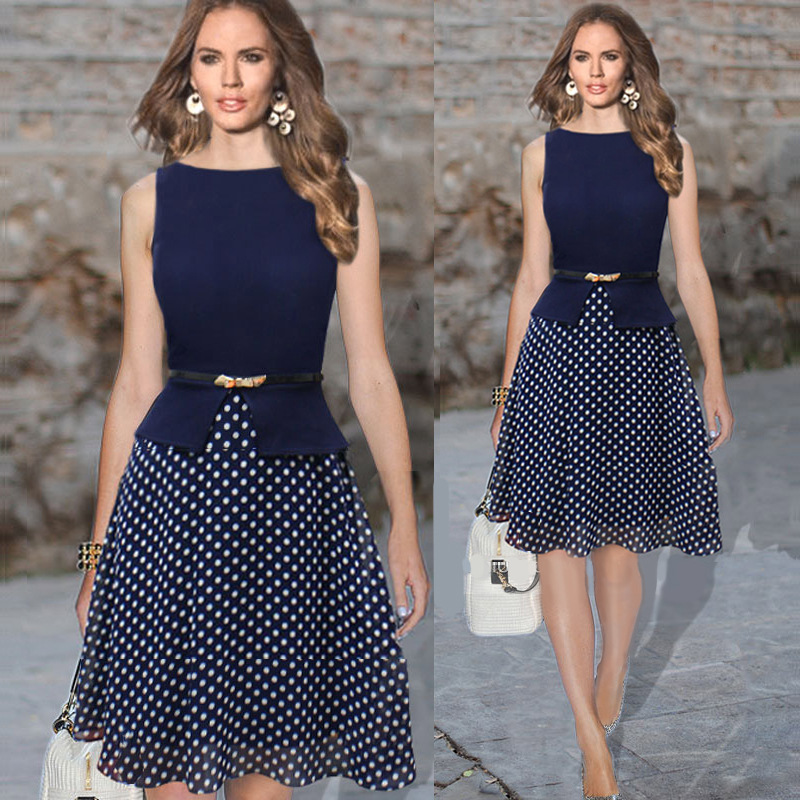 Summer Dress Women Work Wear Sleeveless Belted Polka Dot Printed Office Plus Size Knee Length Chiffon Tunic Vestidos In Dresses From S Clothing