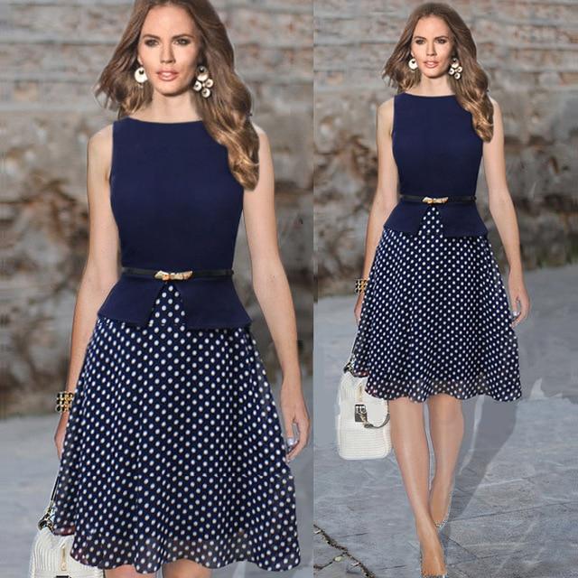 Summer Dress Women Work Wear Sleeveless Belted Polka Dot Printed Office Plus Size Knee Length