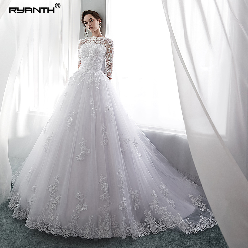 Ryanth Robe De Mariage Illusion Long Sleeve Lace Wedding Dress 2018 Scoop Ball Gown Wedding Dresses