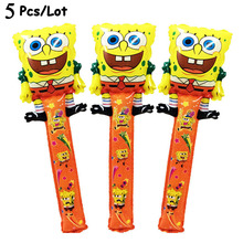 5Pcs/Lot ballons baloon helium foil balloon stick spongebob party supplies birthday decoration balloons