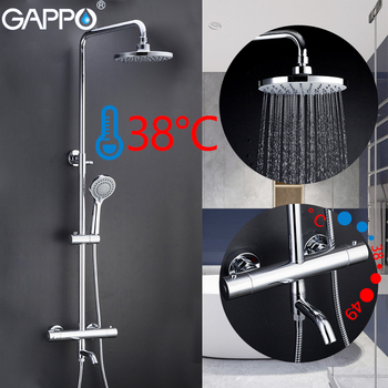 GAPPO Shower Faucets bathroom thermostatic shower faucet bath shower mixer set waterfall rain shower head set bathtub faucet tap antique red copper bathroom clawfoot bath tub faucet bathtub handheld shower faucet mixer tap with shower head holder nna364
