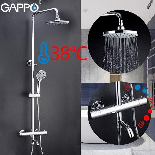 GAPPO Shower Faucets bathroom thermostatic shower faucet bath shower mixer set waterfall rain shower head set bathtub faucet tap