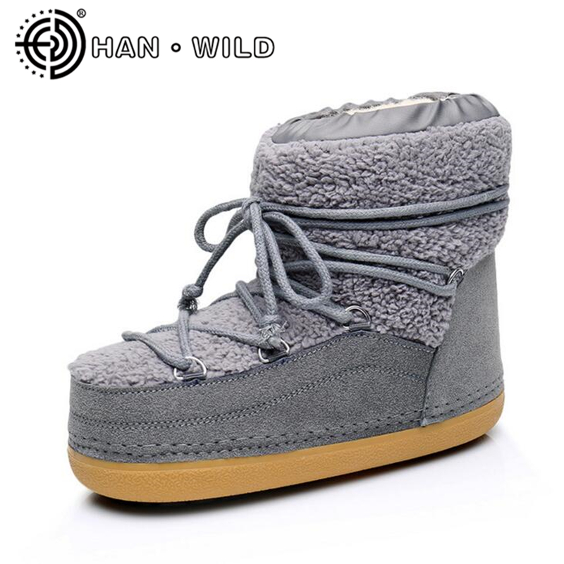 цена на Fashion 2018 Women Space Boots Natural Fur Warm Snow Boots Shoes Winter Wool Ankle Boots Women Anti-Slip Work Safety Shoes New