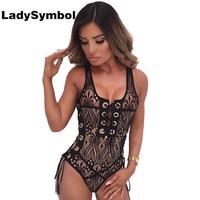 LadySymbol Sexy Black Lace Up Body Frauen Top 2017 Sommer Jumpsuit Fitness V-ausschnitt Aushöhlen Party Club Strand body