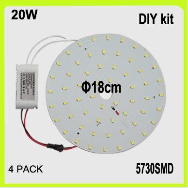 წვრილმანი ნაკრები 4PACK 20W LED წრიული დაფა PCB დისკი LED ჭერის მსუბუქი მრგვალი dia18cm ზედაპირზე დამონტაჟებული 220V 230V 240V 2 წლიანი გარანტიით