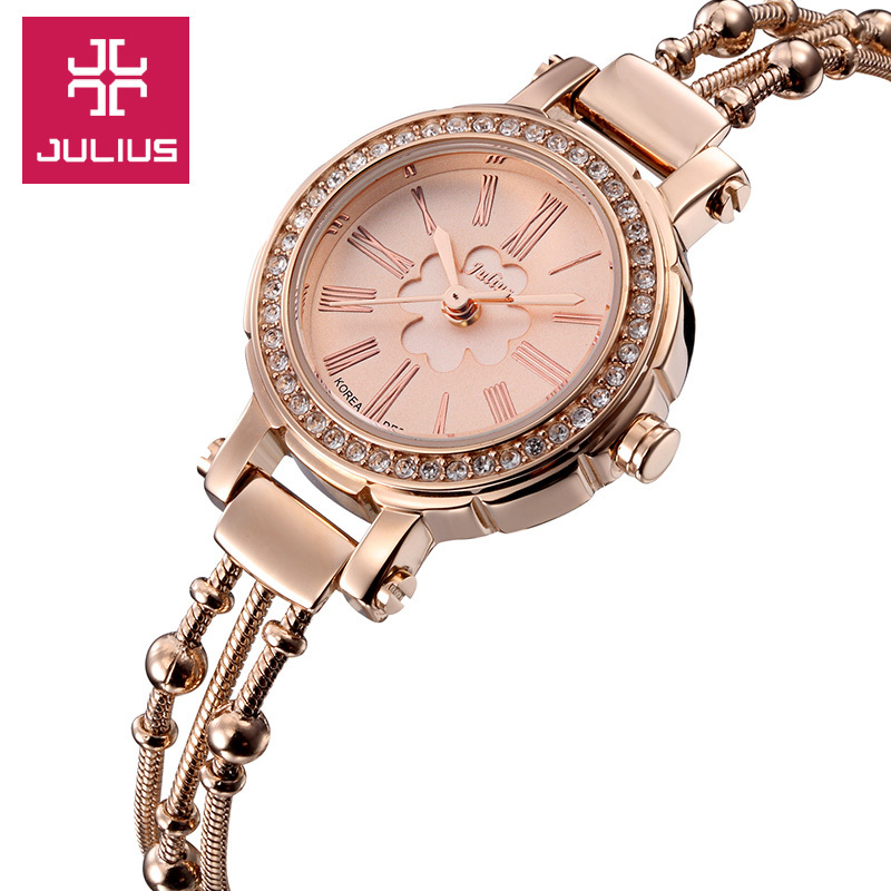 2015 New Julius Lady Woman Wrist Watch Quartz Hours Best Fashion Dress Korea Bracelet Office Clover Steel Business Girl Gift 809