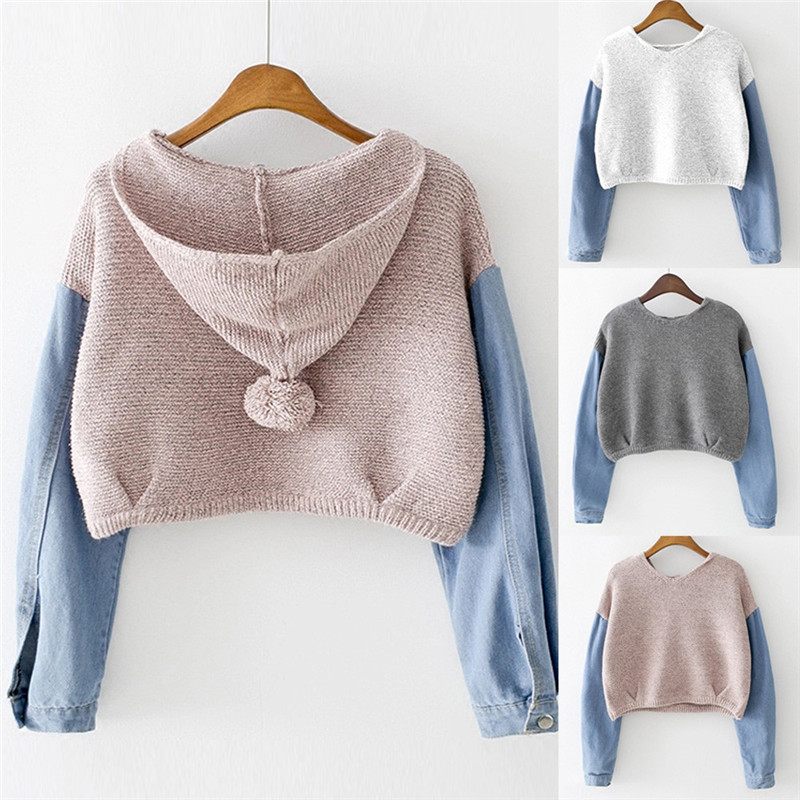 New Style Fashion Women Female Sweatshirt Blouse Long Sleeve Knit Fur Demin Jean Blouse  ...
