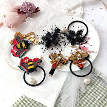 Korea Embroidery Hair Accessories  Set For Girls Elastic Bands Princess Rubber Band Ties Crystal Clips Hairpins