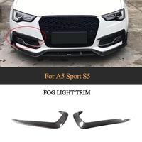 1 Pair Carbon Fiber Car Fog Light Lamp Canards Splitter Fins For Audi A5 Sline S5 2012 2016 Car Sticker Spoiler