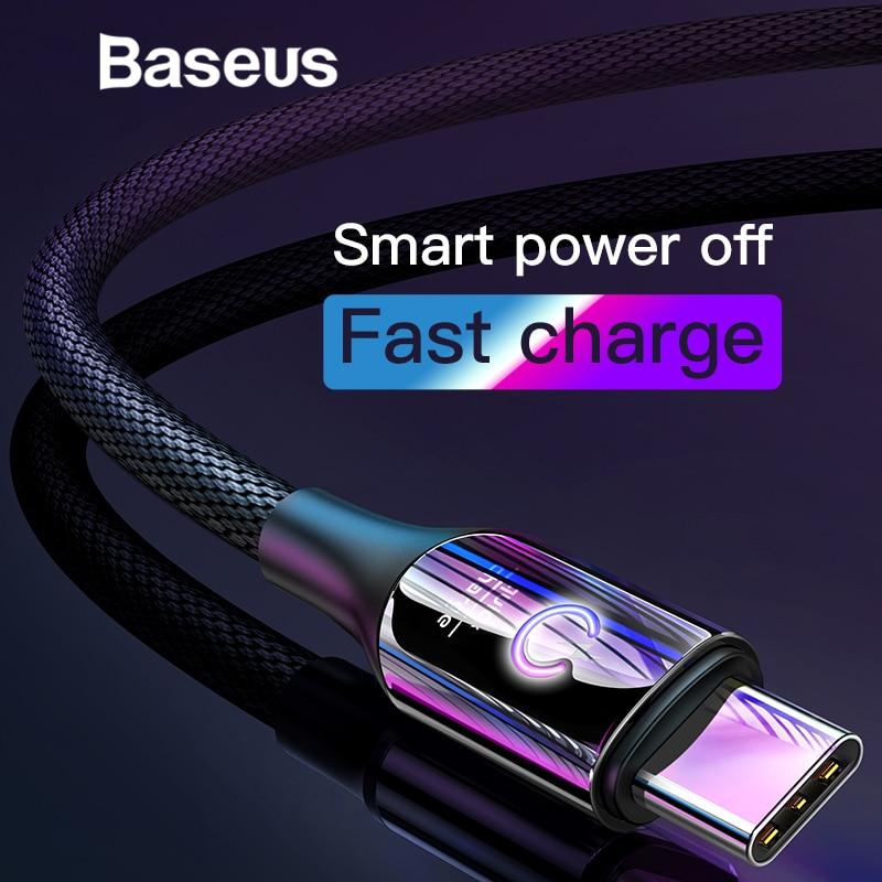 Baseus inteligente cambio respirar iluminación USB tipo C soporte de Cable 3A rápido de carga para Samsung galaxy note 9 s9 plus tipo C