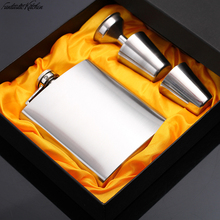 Fantastic Kitchen 7 OZ Stainless Steel Pocket Hip Flask Sets Pure hand-made Funnel Whiskey Liquor Screw Cap