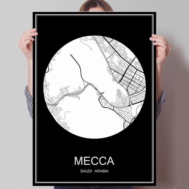 MECCA Saudi Arabic Abstract World City Map Print Poster