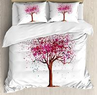 Floral Duvet Cover Set, Japanese Cherry Blossom Buds Sakura Tree in Watercolor Beauty Essence Artwork, 3 Piece Bedding Set