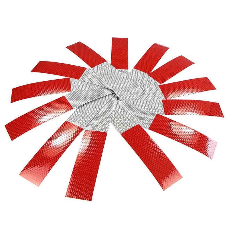 10шт 5*30 см авто красный белый светоотражающие наклейки предупреждение полоса отражающей грузовик поставки авто ночного вождения безопасность безопасная наклейка