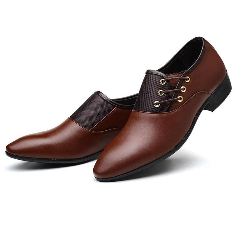 Newly Business Men PU Leather Shoes Formal Casual Flat Pointed Toe Lace-Up Shoes DOD886