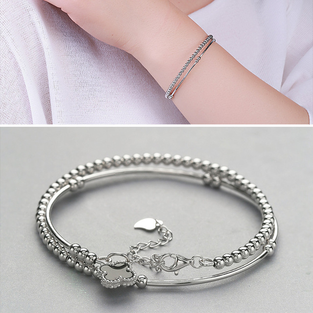 Factory Direct Sales S925 Silver Bracelet Female Simple Beads multi-turn Four Clover