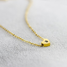 Stainless Steel Chain Letter a b c d e f g h i j k l m n o p q r s t u v w x y z Heart Choker Necklace Women Collier Femme Men(China)