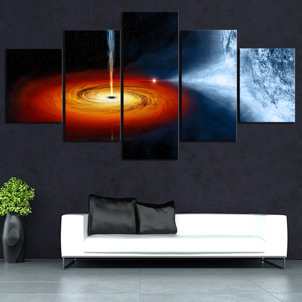 5 Piece Fantasy Art Outer Space Black Hole Poster HD Wall Sticker Canvas Paintings The Milky Way Picture Wall Art Paintings 1