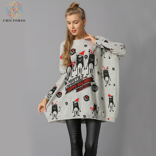 chictorso loose fit new year cartoon print women christmas sweater dress casual slouchy long sweaters pullover - Christmas Sweater Dress
