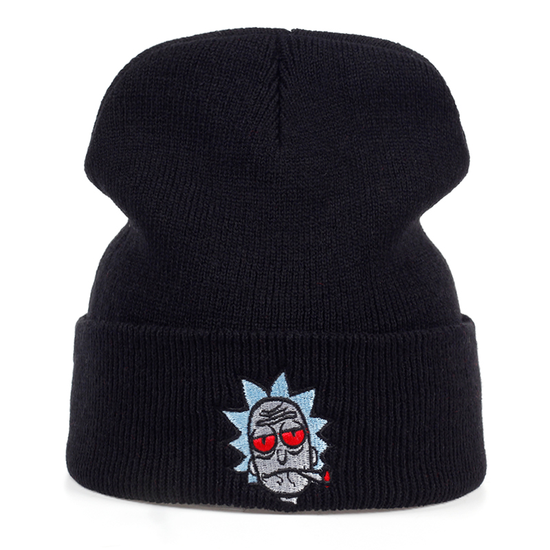 Rick Hats Smoking Elastic Brand Embroidery Rick and Morty   Beanie   Cap Warm Knitted Hat Winter   Skullies   Animation Ski Red Eyes