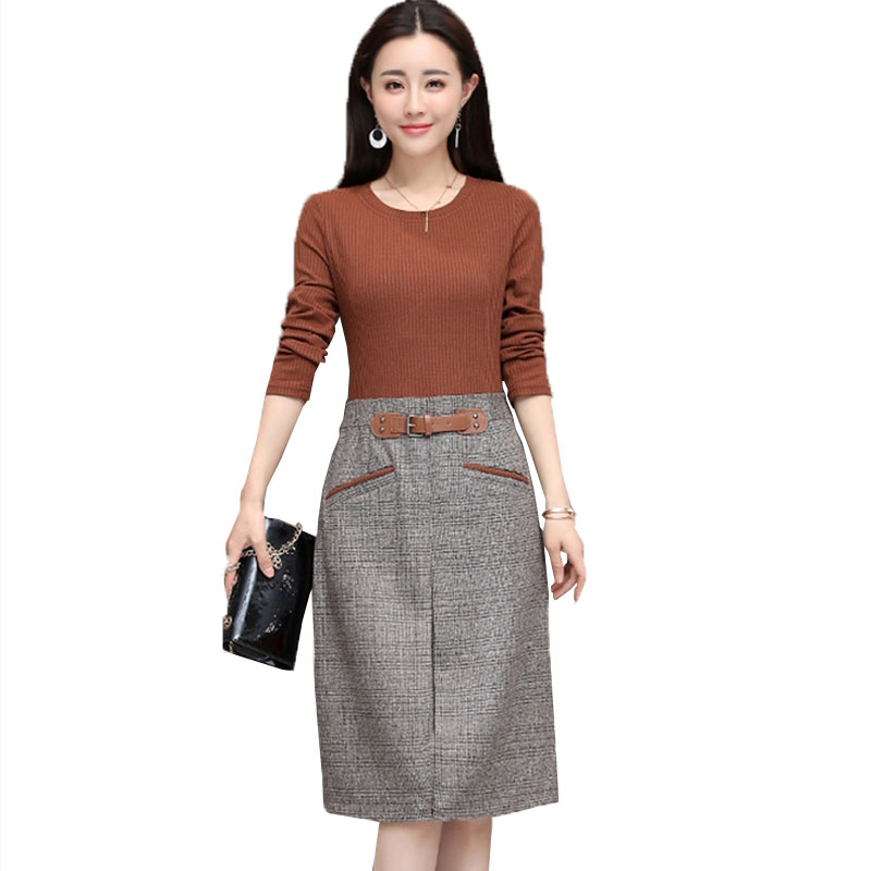 2018 Spring Women knit Dress Fake two-piece Long-sleeved splicing Bag hip plus size knitted Sweater Dresses Female vestidos L291