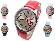 H124 Free Shipping Wholesale New leather wrist watch women children girl cartoon fashion hello kitty quartz watch