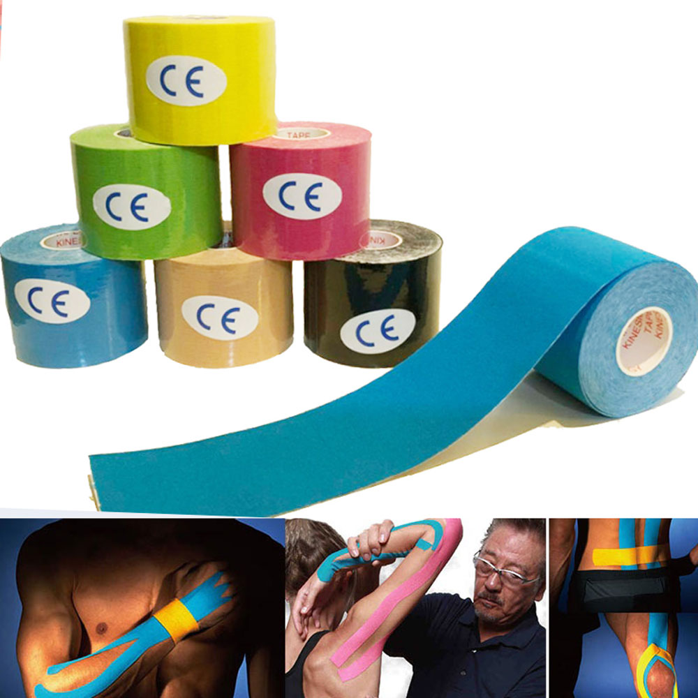 Kinesio Tape Muscle Bandage 5cm x 5M Sports Kinesiology Tape Roll Cotton Elastic Adhesive Strain Injury Muscle Sticker Knee Kine kinexib 5m x 5cm beige