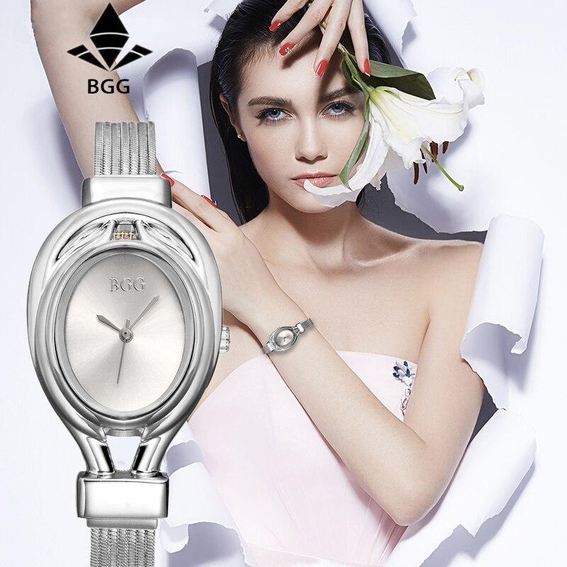 2017 Top Luxury Brand BGG Kvinnor Mode Guld Silver Rostfritt Stål - Damklockor