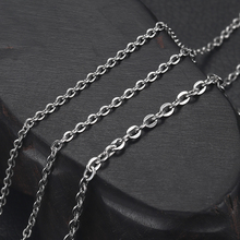 Stainless Steel Finished Chains Necklace Flat Curb Chain with Lobster Clasp Silver Jewelry Necklaces Mens Accessories 2-3mm